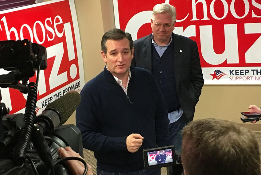 Ted Cruz speaks with reporters Saturday in Ankeny, Iowa, after receiving the endorsement of conservative radio host Glenn Be…