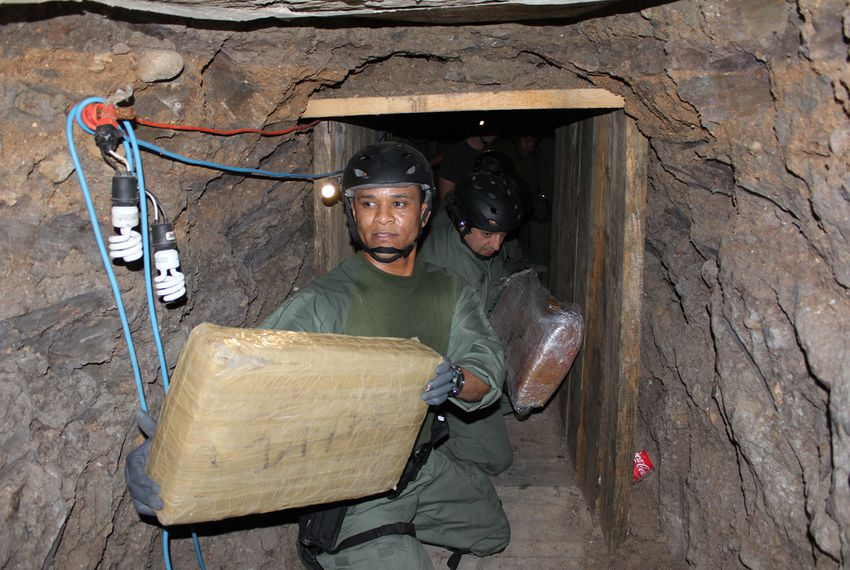 U.S. Immigration and Customs Enforcement inside an elaborate cross-border drug smuggling tunnel discovered inside a warehouse near San Diego, CA.