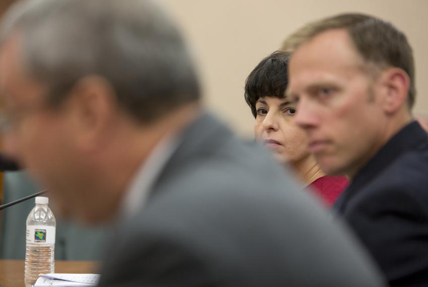 Texas Railroad Commissioners Christi Craddick, center, and Ryan Sitton, right, during a Sunset Advisory Committee hearing on…