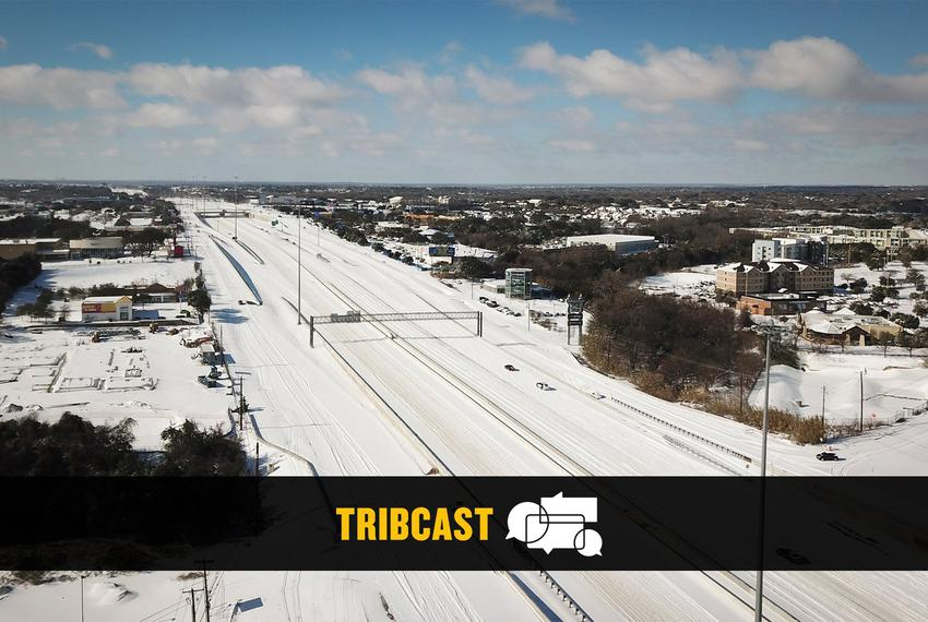 An aerial view of southbound Interstate 35 at Stassney Lane in south Austin after a severe snow storm hit the state. Feb. 15…
