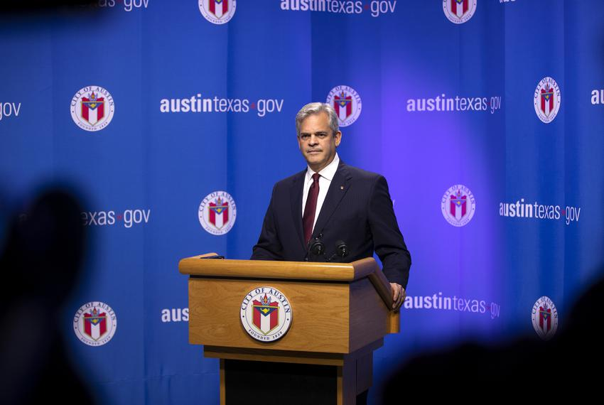 Austin Mayor Steve Adler speaks at a press conference in response to Gov. Greg Abbott's comments about the city's homeless o…
