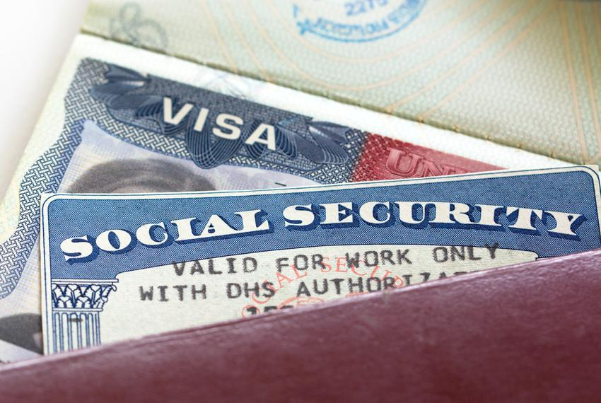 "American Visa and Social Security Card with '""Valid for work only with DHS authorization""'"