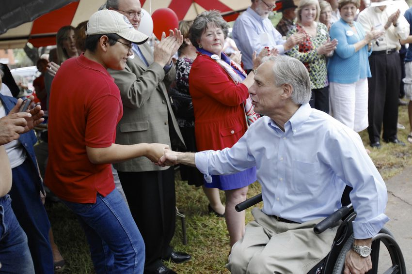 Greg Abbott at a rally in Wichita Falls on July 16, 2013.