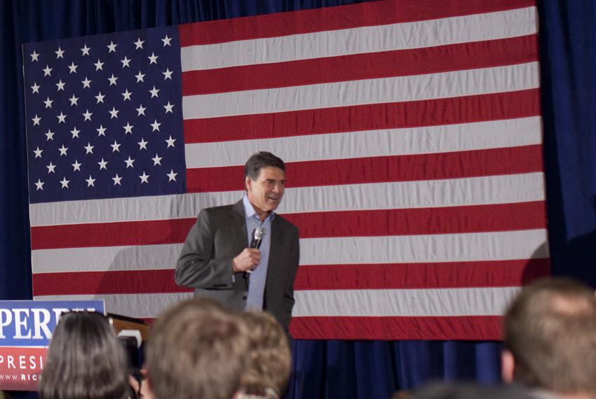 Gov. Rick Perry gives his last speech of 2011 in Boone, Iowa, on Dec. 31, 2011.