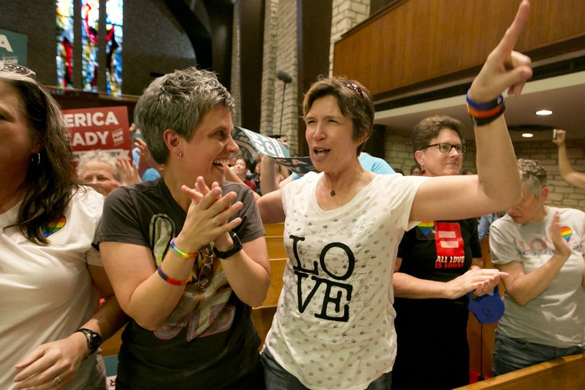 Laura LeBoeuf and Angie Balmer at a ceremony at Central Presbyterian Church in downtown Austin after the U.S. Supreme Court legalized gay marriage on June 26, 2015.