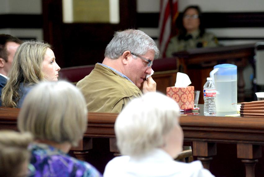 Bernie Tiede wipes tears from his eye during opening remarks at his sentencing hearing Wednesday, April 6, 2016, at the Rusk…