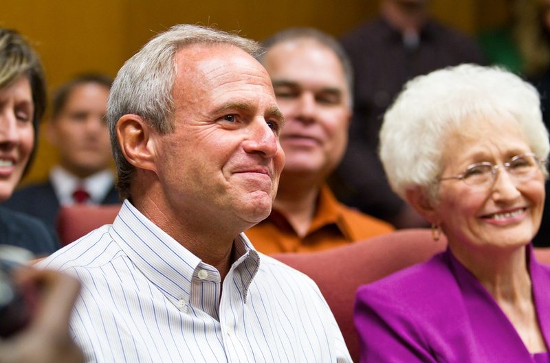 Michael Morton sits beside his mother, Patricia Morton, during an emotional press conference in October 2011 after a judge agreed to release him on personal bond after he spent nearly 25 years in prison for the murder of his wife. Recently tested DNA indicates another man committed the 1986 killing.