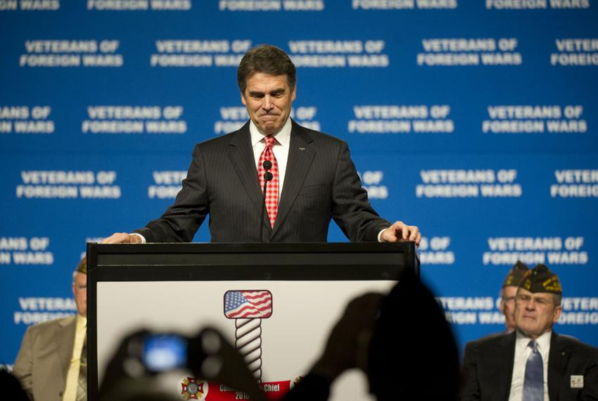 Gov. Rick Perry at the Veterans of Foreign Wars annual convention in San Antonio on Aug 29, 2011.