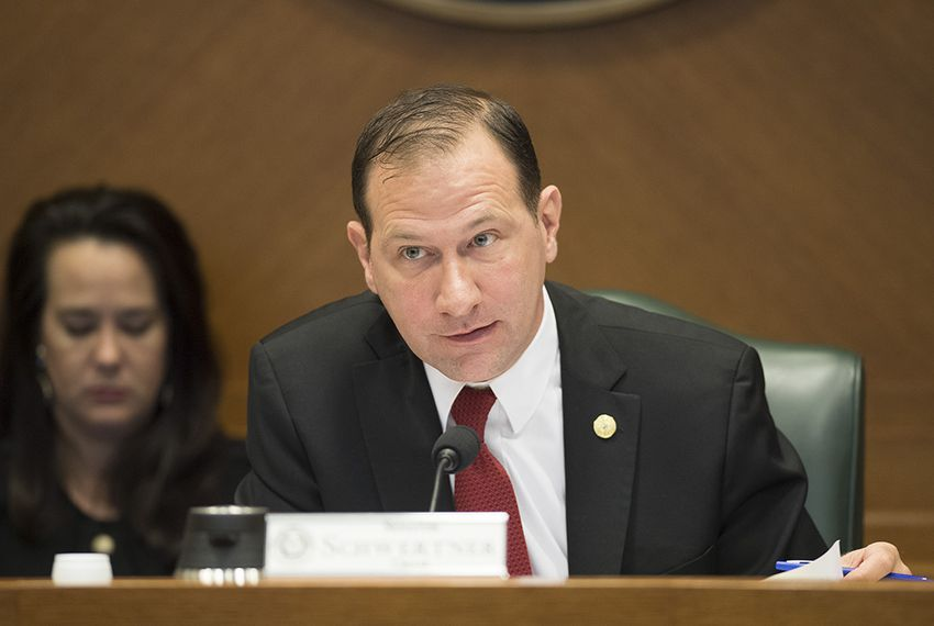 "State Sen. Charles Schwertner, R-Georgetown, chairs the Senate Health and Human Services Committee on March 27, 2017.  The committee is consider several bills related to long-term care facilities including S.B. 1130 by Sen. Juan ""Chuy"" Hinojosa and others."