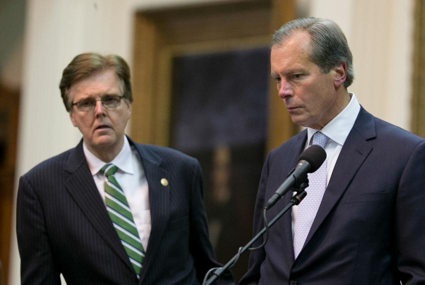 Lt. Gov. David Dewhurst and Sen. Dan Patrick in the Senate chamber as political drama unfolds at the Texas Capitol in the ...