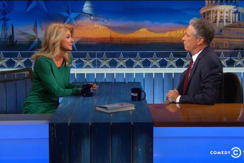 """Democratic nominee for governor Wendy Davis appeared on """"The Daily Show With Jon Stewart"""" on Monday, Oct. 27, 2014 in Austin, Texas."""