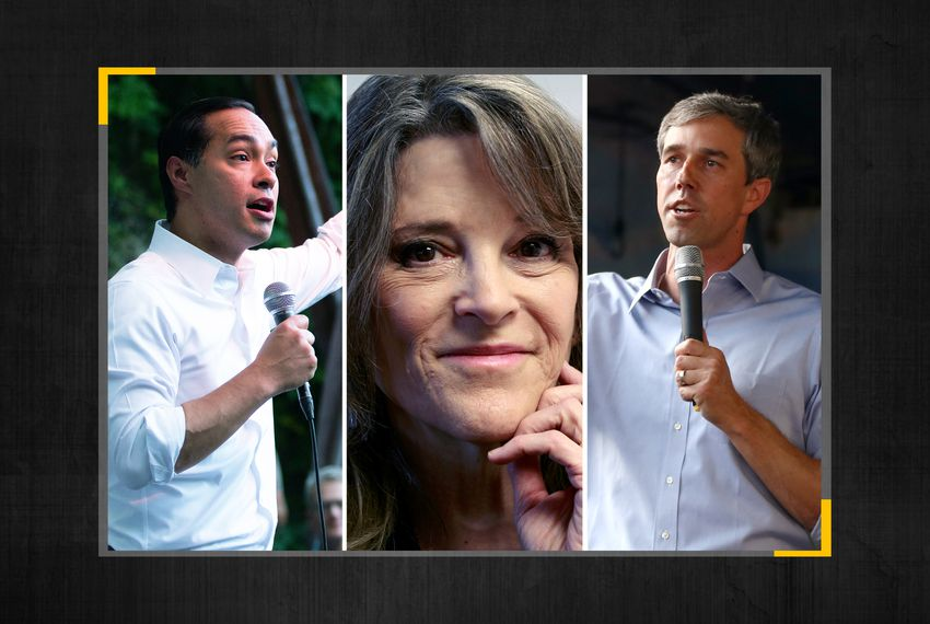 From left: Presidential candidates Julián Castro, Marianne Williamson and Beto O'Rourke.