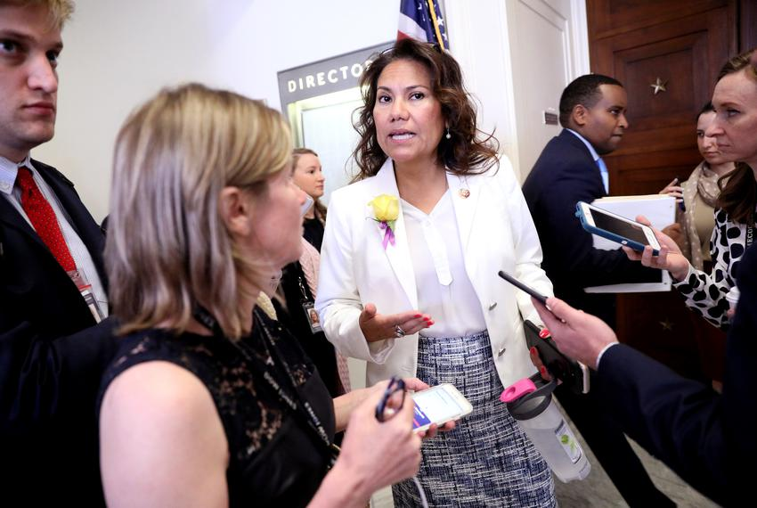 U.S. Rep. Veronica Escobar, D-El Paso, speaks to reporters after a House Judiciary Committee hearing in Washington, D.C., ...