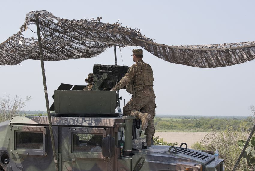 Texas National Guard troops at an observation post along the Rio Grande in Hidalgo County on April 13, 2018.