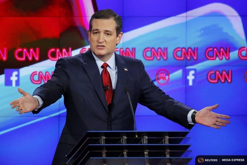 U.S. Sen. Ted Cruz is shown speaking at the CNN presidential debate in Las Vegas on Dec. 15, 2015.