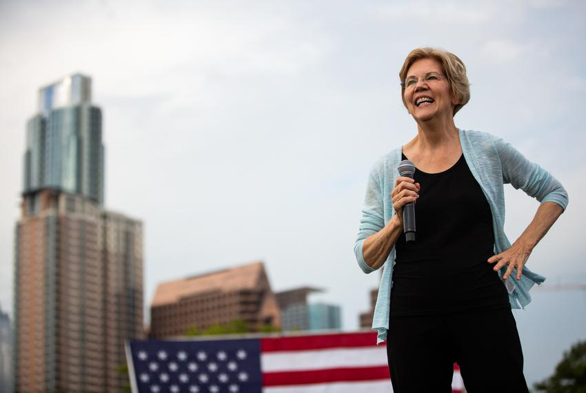 Democratic presidential candidate and U.S. Sen. Elizabeth Warren, D-Massachusetts, speaks at a town hall held in Austin on...