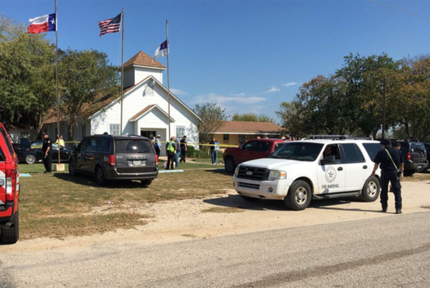 Emergency vehicles outside First Baptist Church in Sutherland Springs on Sunday, Nov. 5, 2017, where a mass shooting has taken place.