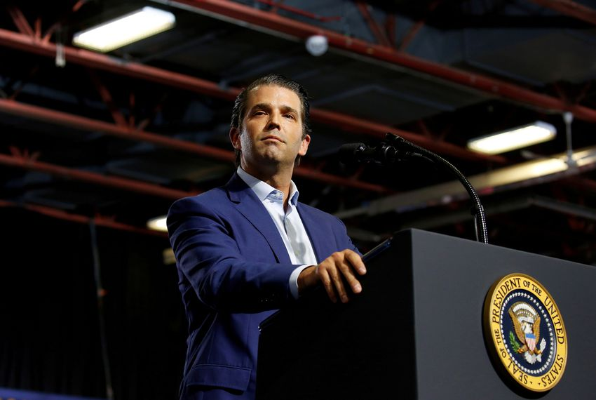 FILE PHOTO: Donald Trump, Jr. speaks at a Make America Great Again rally in Great Falls, Montana, U.S., July 5, 2018.      REUTERS/Joshua Roberts - RC11A240A0A0REUTERS/      /File Photo