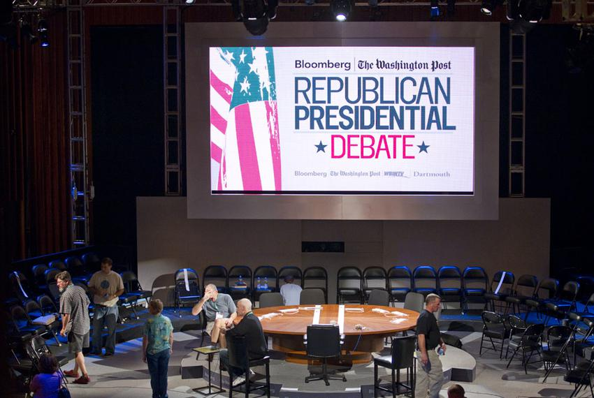 The set at Dartmouth College in Hanover, N.H. on Oct. 10, 2011, the night before Rick Perry's fourth Republican presidenti...