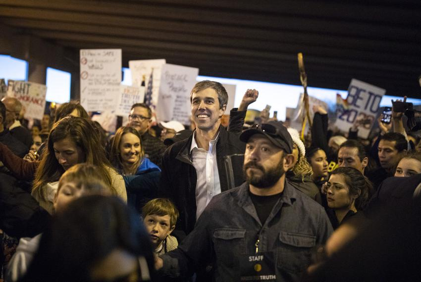 Beto O'Rourke leads a counter protest with thousands of other El Pasoans at the same time President Trump holds a campaign...