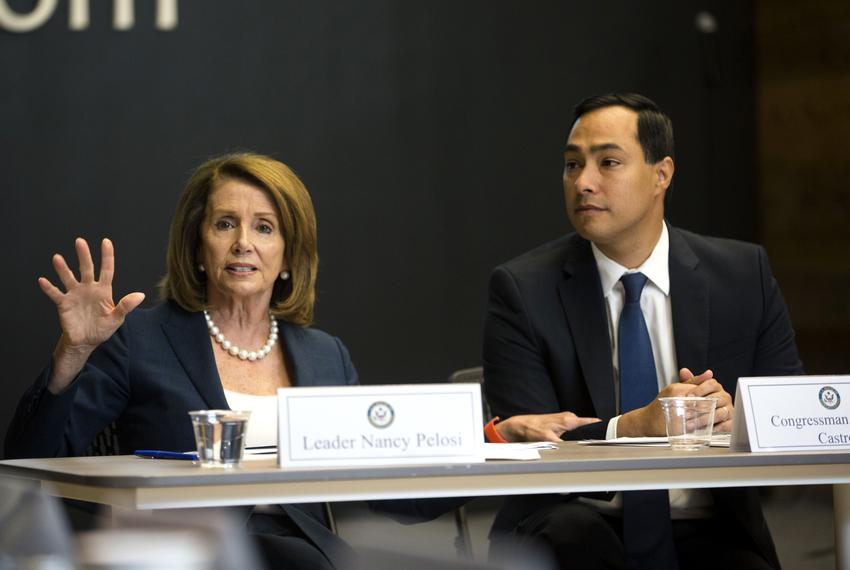 House Democratic Leader Nancy Pelosi and Congressman Joaquin Castro (TX-20) speak during a roundtable discussion with San ...