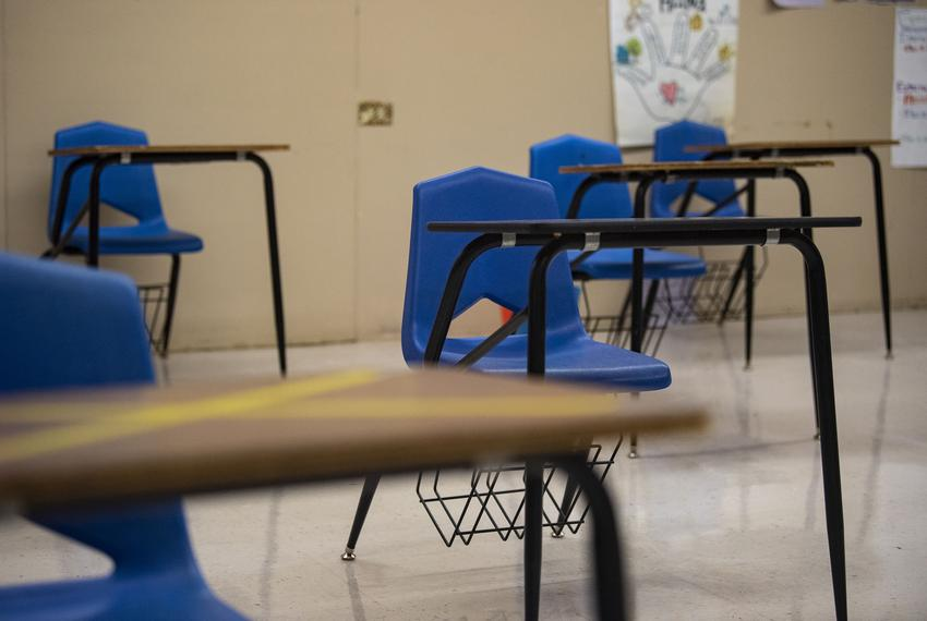 Desks are seated six feet away from each other at Premont Collegiate High School on Aug. 4, 2020 in Premont. Some desks, mar…