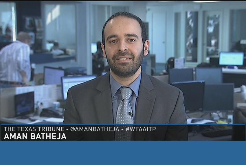 "Tribune reporter Aman Batheja on WFAA-TV's ""Inside Texas Politics"" on March 29, 2015."