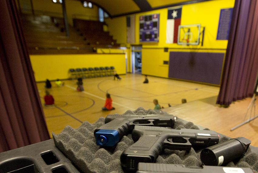 Mock weapons used to train educators in Harrold, Texas. The North Texas school district was the first to allow educators to …