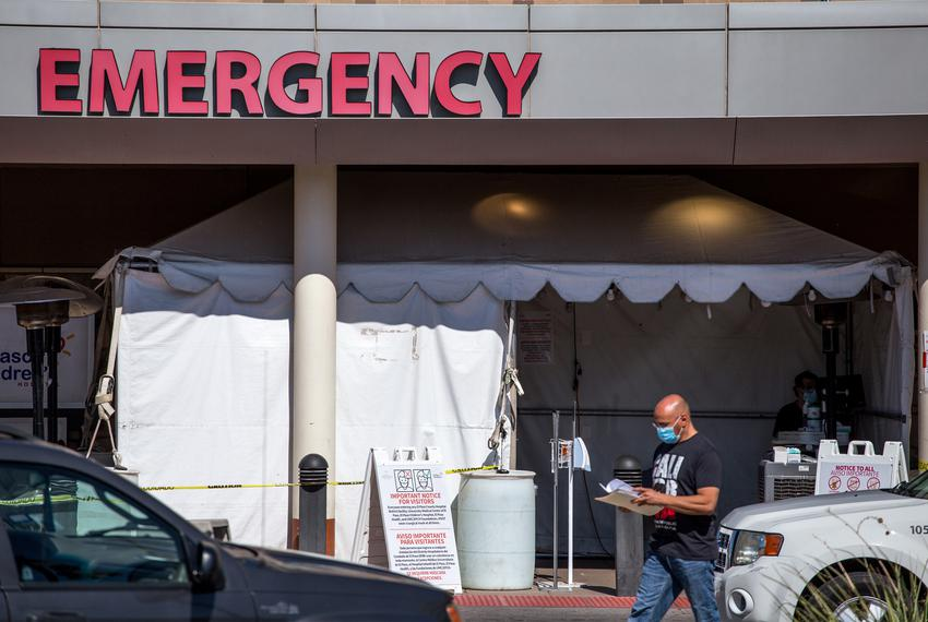 A sanitizing station is set up at the entrance of the emergency room at the El Paso Children's Hospital in El Paso on Friday…