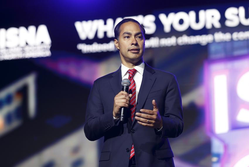 Democratic Presidential Candidate Julián Castro speaks at a presidential candidate forum in Houston on Aug. 31, 2019. The fo…