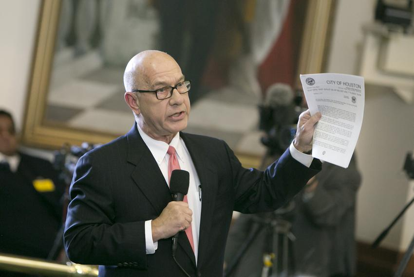 Sen. John Whitmire D-Houston holds up a letter from the city of Houston chief of police as he ask Sen. Charles Perry R-Lub...