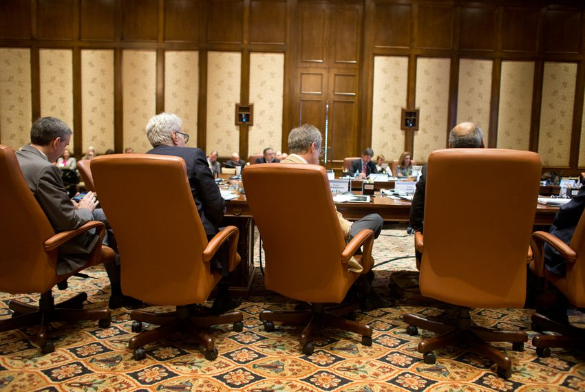 Members listen to committee reports at the Board of Regents meeting for The University of Texas System on Feb. 14, 2013.