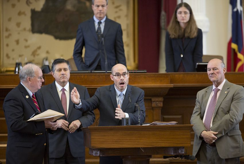 State Rep. Dennis Bonnen, R-Angleton, speaks on his property tax legislation as he attempts to get it added to another bill as an amendment on May 20, 2017.