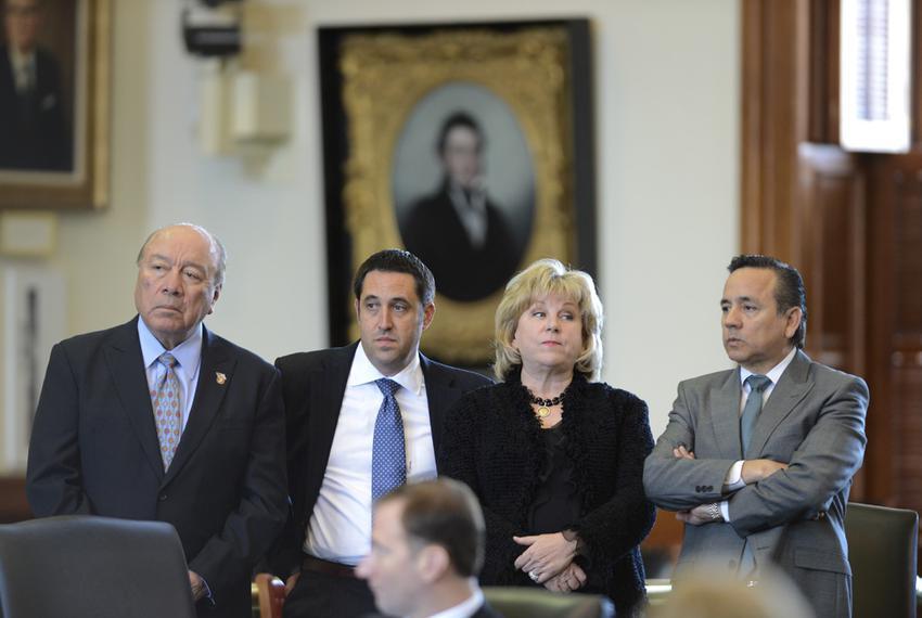 "Senators Juan ""Chuy"" Hinojosa, D-Edinburg, l, Glenn Hegar, R-Katy,  Jane Nelson, R-Flower Mound and Carlos Uresti, D-San Ant…"