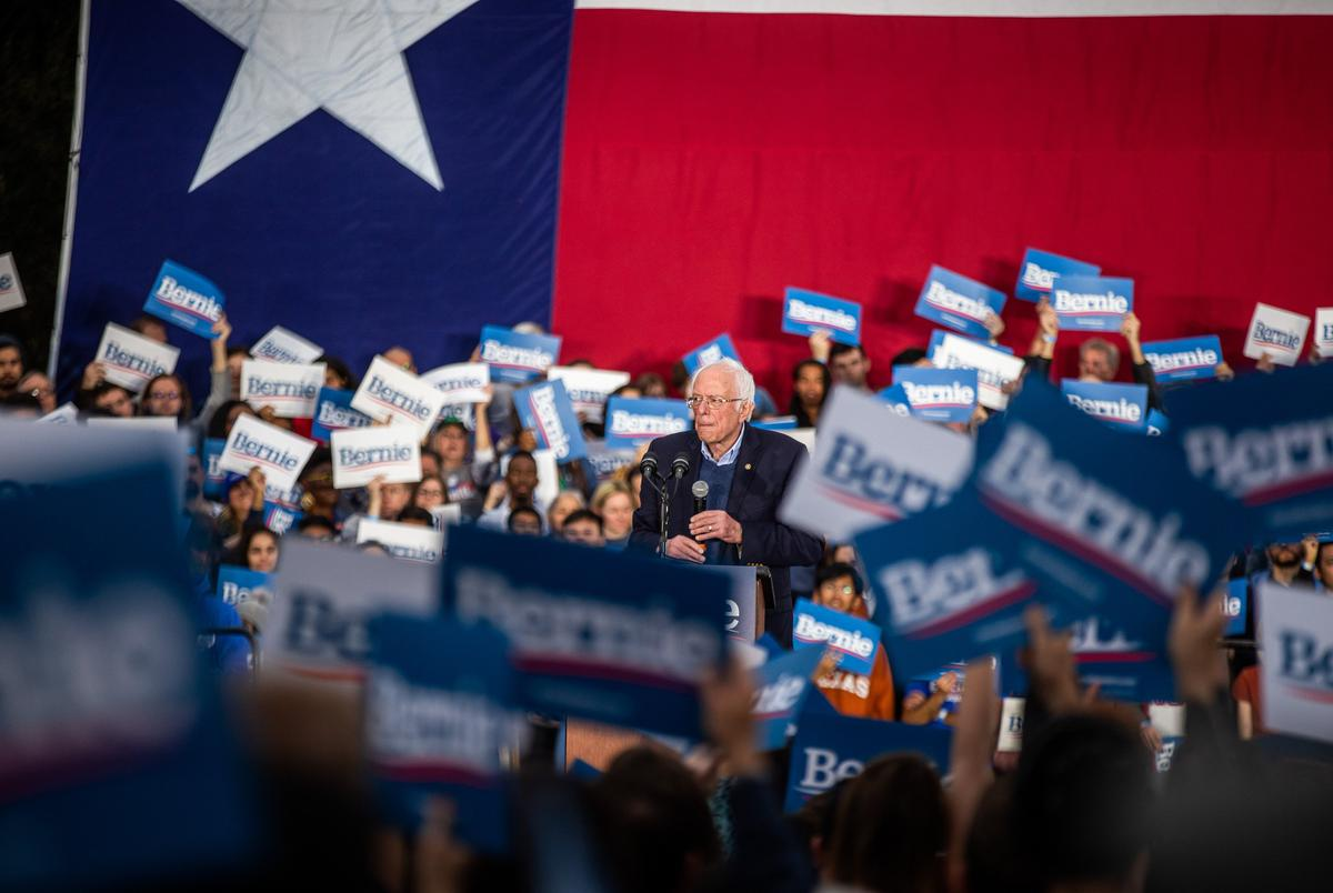 Democratic presidential candidate Bernie Sander speaks at his campaign rally in Austin on Feb. 23, 2020.