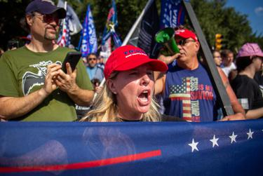 Trump supporters gathered outside the capitol to protest President-elect Joe Biden's election victory on Nov. 7, 2020.