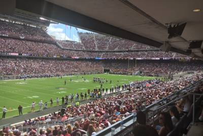 The view from an A&M suite. Image provided by an attendee.