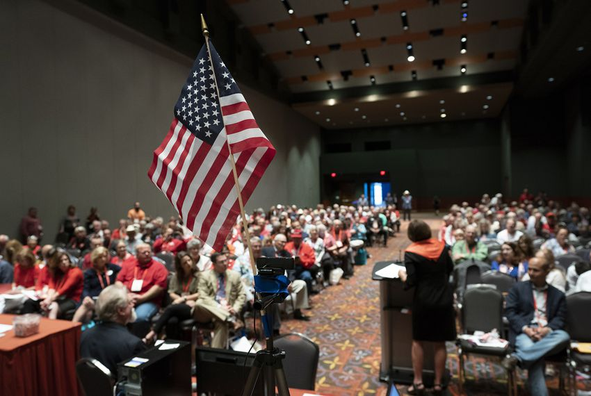 There was a full house during a committee hearing at the second day of the the Republican Party of Texas convention in San Antonio on June 15, 2018.