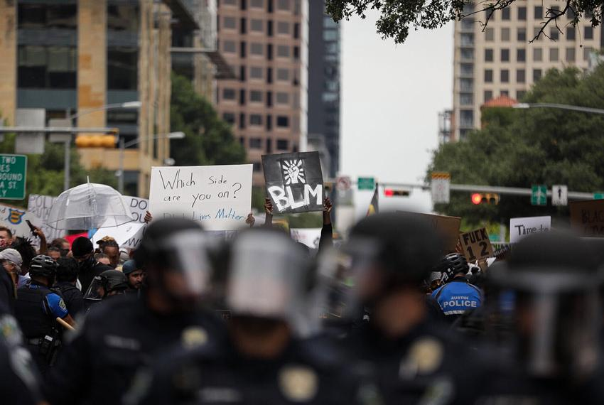 Protesters march in downtown Austin on May 31, 2020.