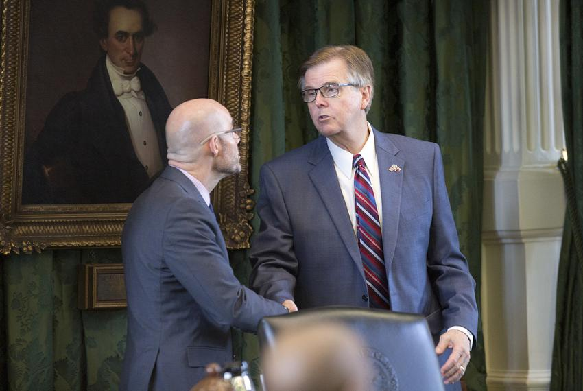 State Rep. Dennis Bonnen, R-Angleton, meets with Lt. Gov. Dan Patrick in the Senate chamber on May 25, 2017.