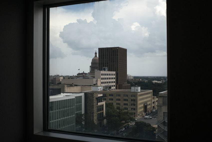 The Capitol can be seen from the Blackwell-Thurman Criminal Justice Center in downtown Austin.