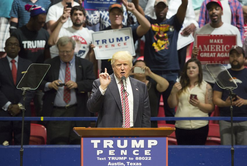 Republican presidential nominee Donald Trump gives speech during a rally in Austin on Aug. 23, 2016.