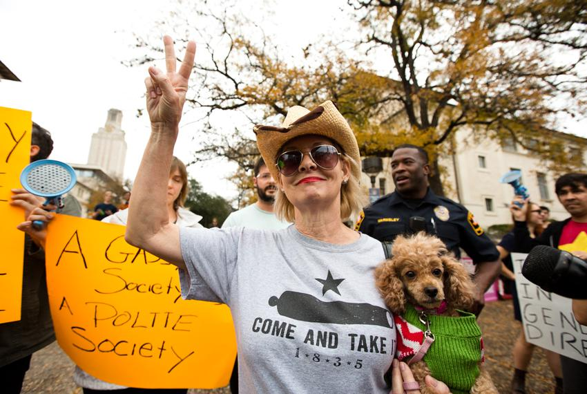 Gun rights activists held a mock shooting at the University of Texas on Dec. 12 to protest proposed gun-free zones on camp...