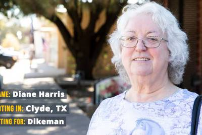 "Diane Harris, 68, says she voted for Libertarian Neal Dikeman in the race for U.S. Senate. ""The biggest issue is the rights of people, plus keeping us safe,"" Harris said"