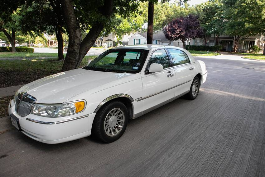 The Lincoln town car Joseph Pintucci was driving when he was shot and killed in a parking garage after being robbed while ...