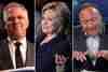 Radio hosts Glenn Beck (l.) and Alex Jones flank Democratic presidential nominee Hillary Clinton.