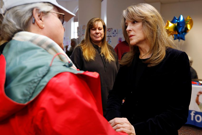 Presidential candidate Marianne Williamson talks to supporters at the Nevada State Legislative Building in Carson City, Nevada.