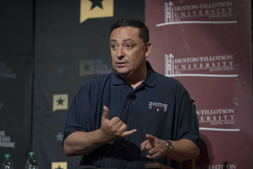 Art Acevedo, chief of the Houston Police Department, speaking on the Race and Policing in Texas panel at A Symposium on Race…