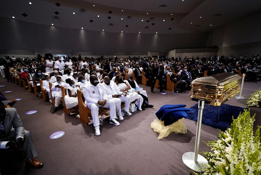 The Floyd family and others attend the funeral service for George Floyd at The Fountain of Praise church in Houston on Tue...
