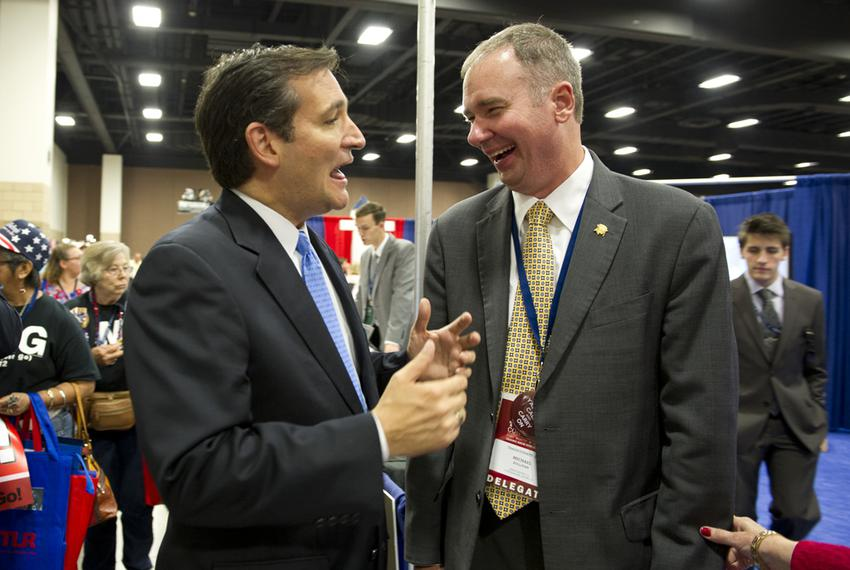 Ted Cruz, left, then a U.S. Senate candidate, speaks with Michael Quinn Sullivan of Empower Texas at the state Republican ...